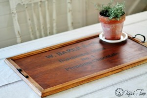 Wooden Tray Makeover as Antique Crate