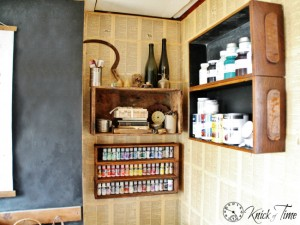 Repurposed Drawers and Crates for Craft Supplies