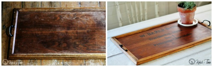 wooden tray before and after
