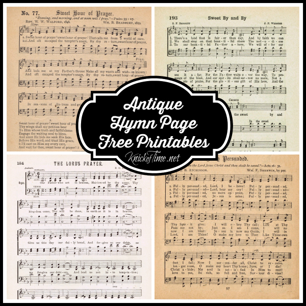 Antique Hymn Book Page Printable from KnickofTime.net