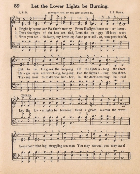Antique Hymn Page - Let the Lower Lights be Burning