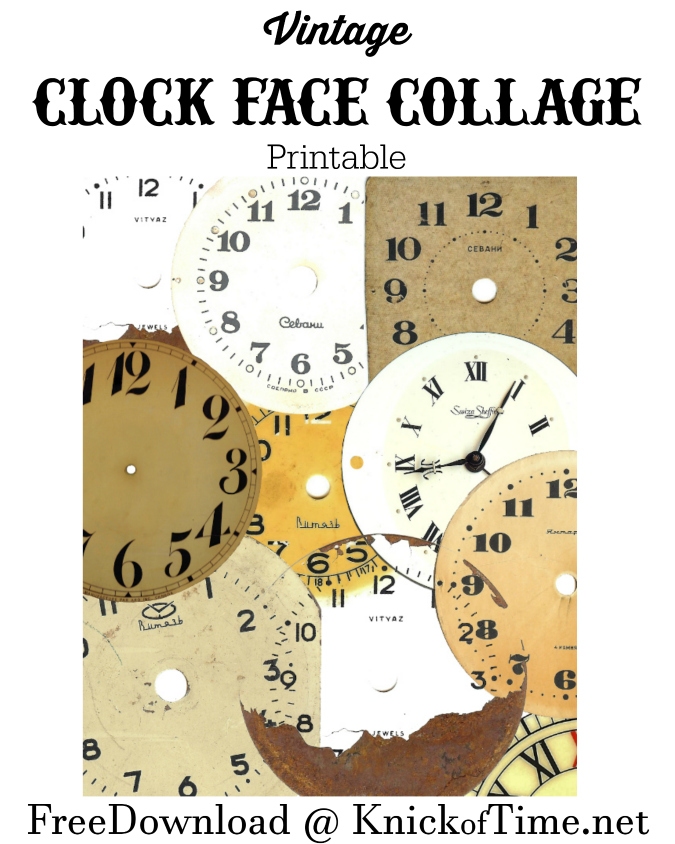 Clock Face Collage Free Printable from KnickofTime.net