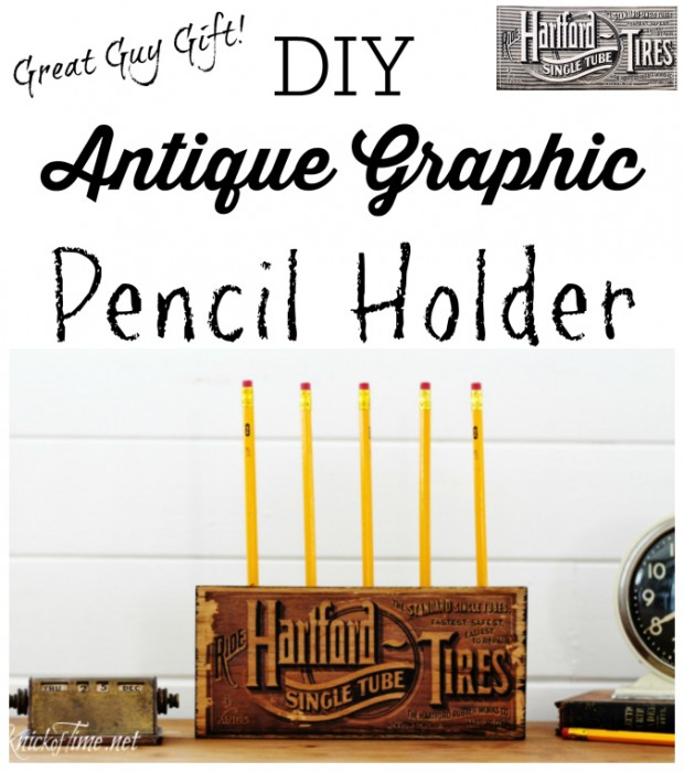 DIY Antique Graphic Pencil Holder