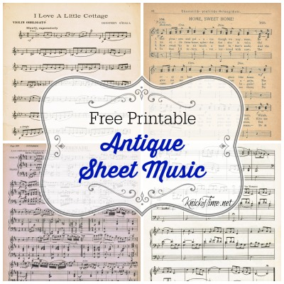 FREE printable antique sheet music | www.knickoftime.net