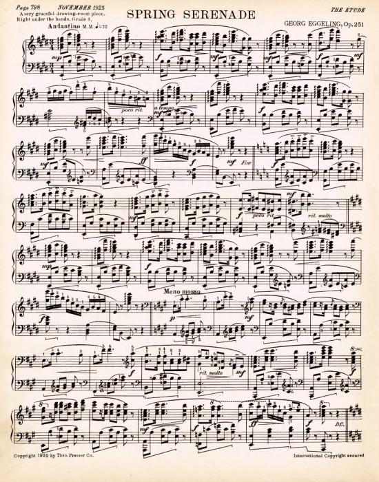 Spring printable antique sheet music