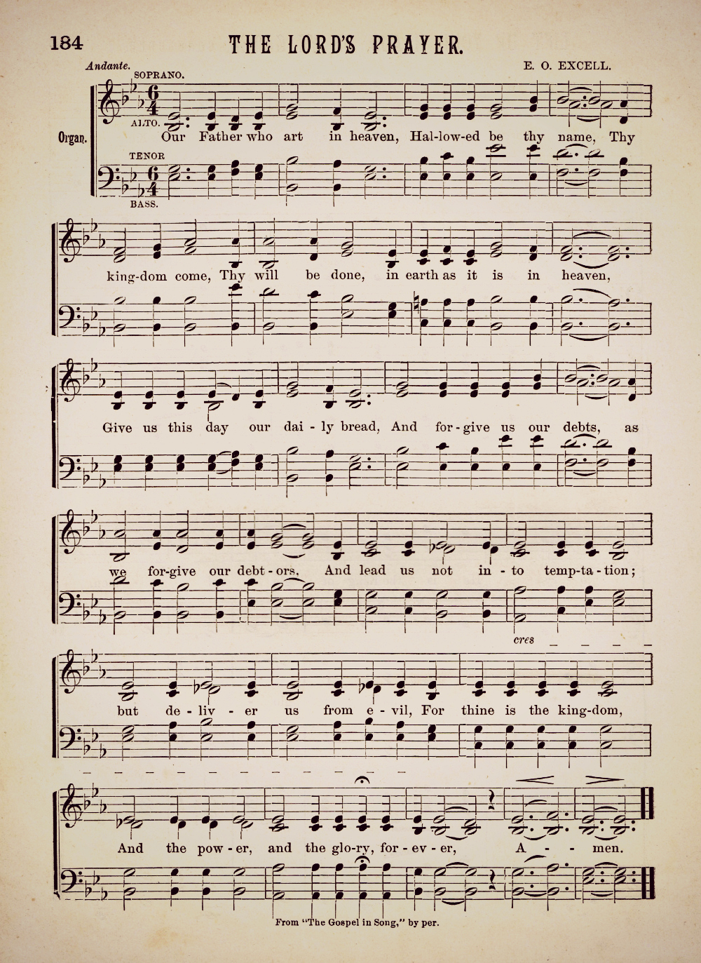 The Lord's Prayer Antique Hymn Page