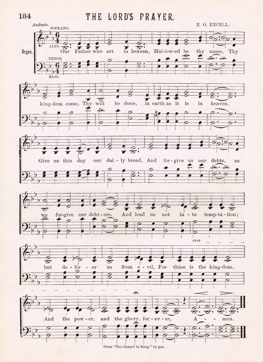The Lords Prayer Antique Hymn Page Printable