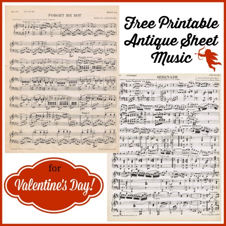 photo regarding Printable Sheet Music for Crafts titled Antique Printable Sheet Audio for Valentines Working day Knick of