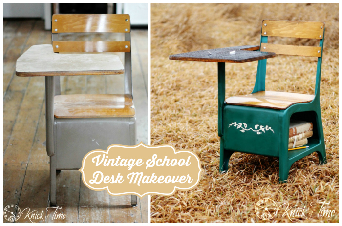 Vintage School Desk Before and After Makeover