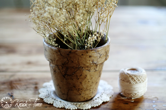 brown paper decoupage pot