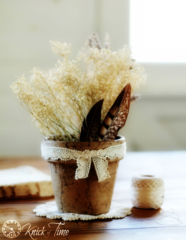 brown paper rustic flower pot
