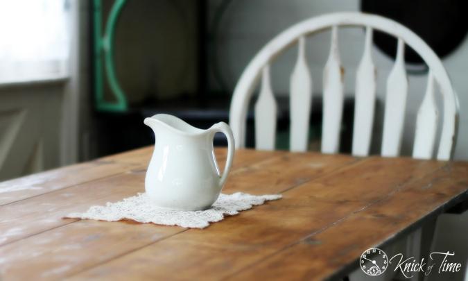 ironstone pitcher on farmhouse table