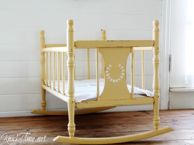 painted vintage cradle