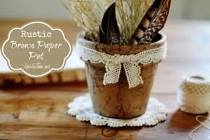 rustic brown paper pot