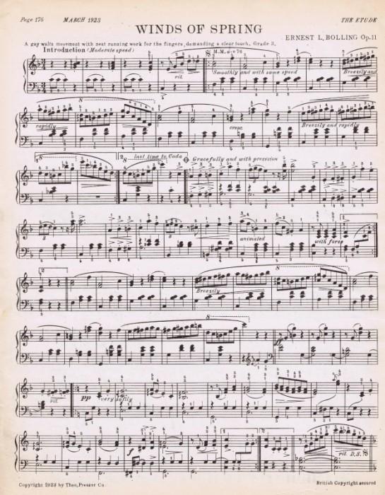 spring sheet music printable