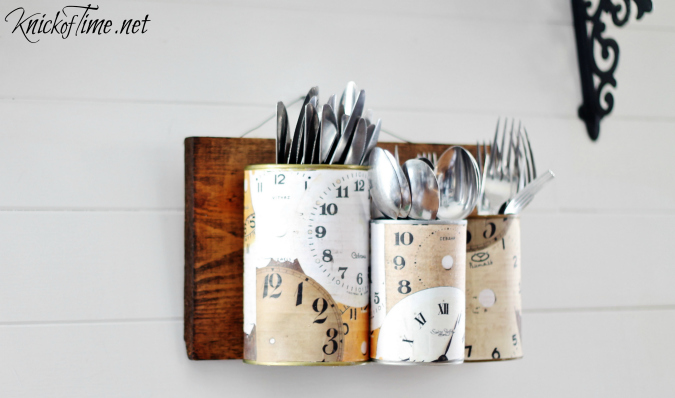 tin can wall organizer caddy via KnickofTime.net