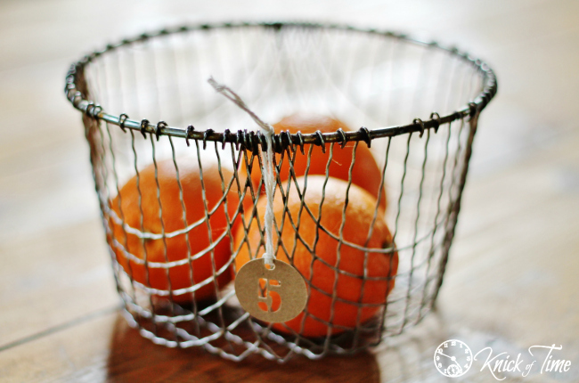 wire basket with number tag