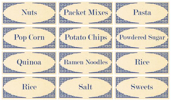 Blue Pantry Labels