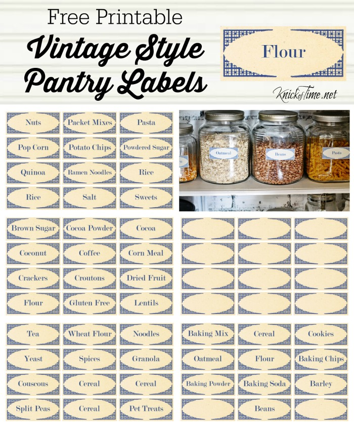 Vintage Kitchen Labels: Vintage Style Pantry Labels From KnickofTime.net