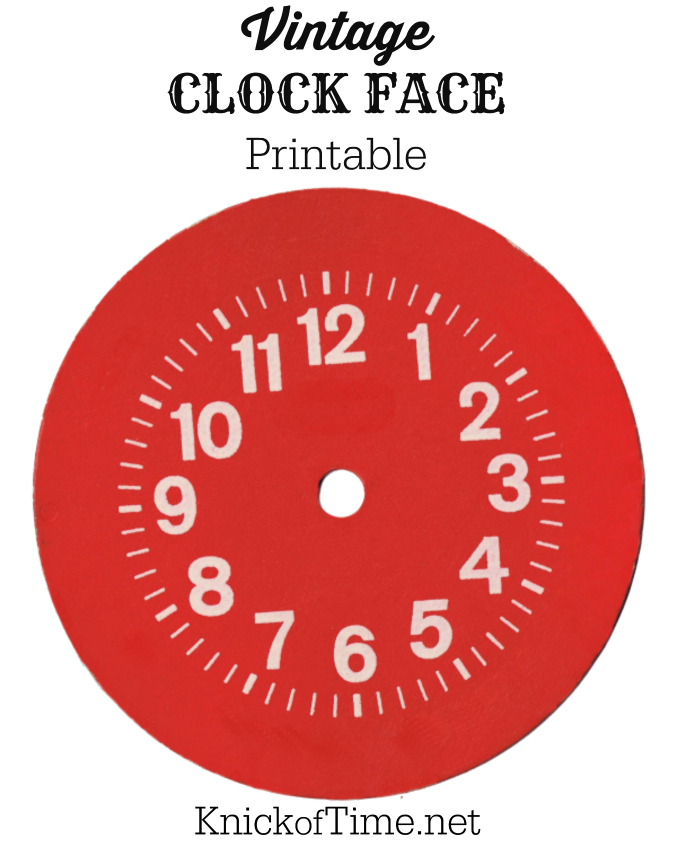 Red Vintage Clock Face Printable from KnickofTime.net