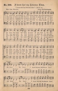 antique hymn book page I Know That my Redeemer Lives