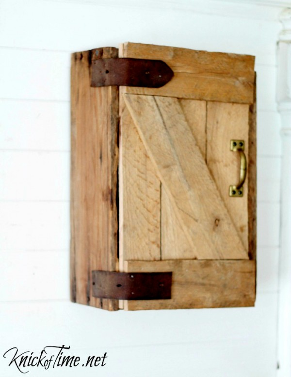 DIY barn door storage cabinet via KnickofTime.net