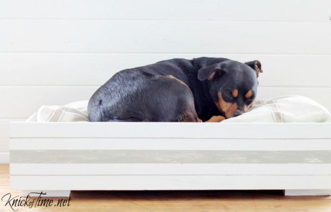 grain sack dog bed drawer