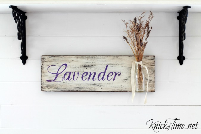 lavender sign on salvaged wood