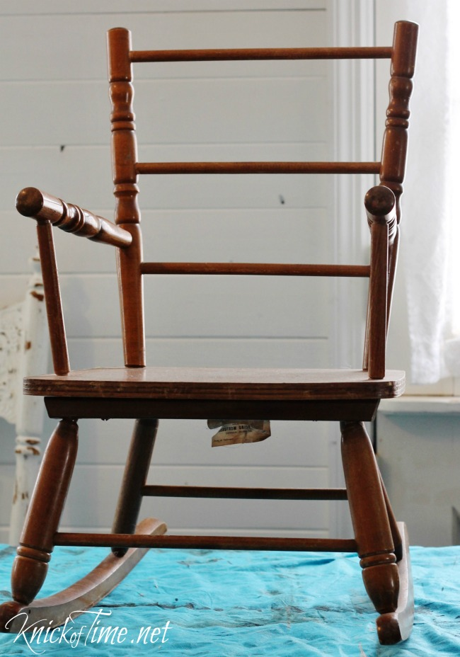 child's rocking chair - Vintage Child's Rocking Chair Makeover Via KnickofTime.net