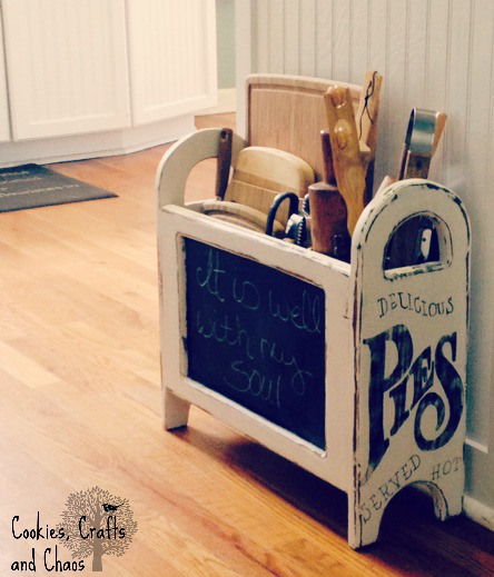 upcycled magazine rack