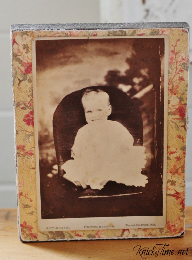 wood antique photograph block