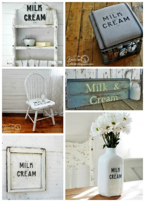 Milk and Cream Company Projects , signs, milk crate and farmhouse chair - KnickofTime.net