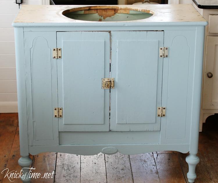 Vintage Cabinet Into A Bathroom Vanity Via