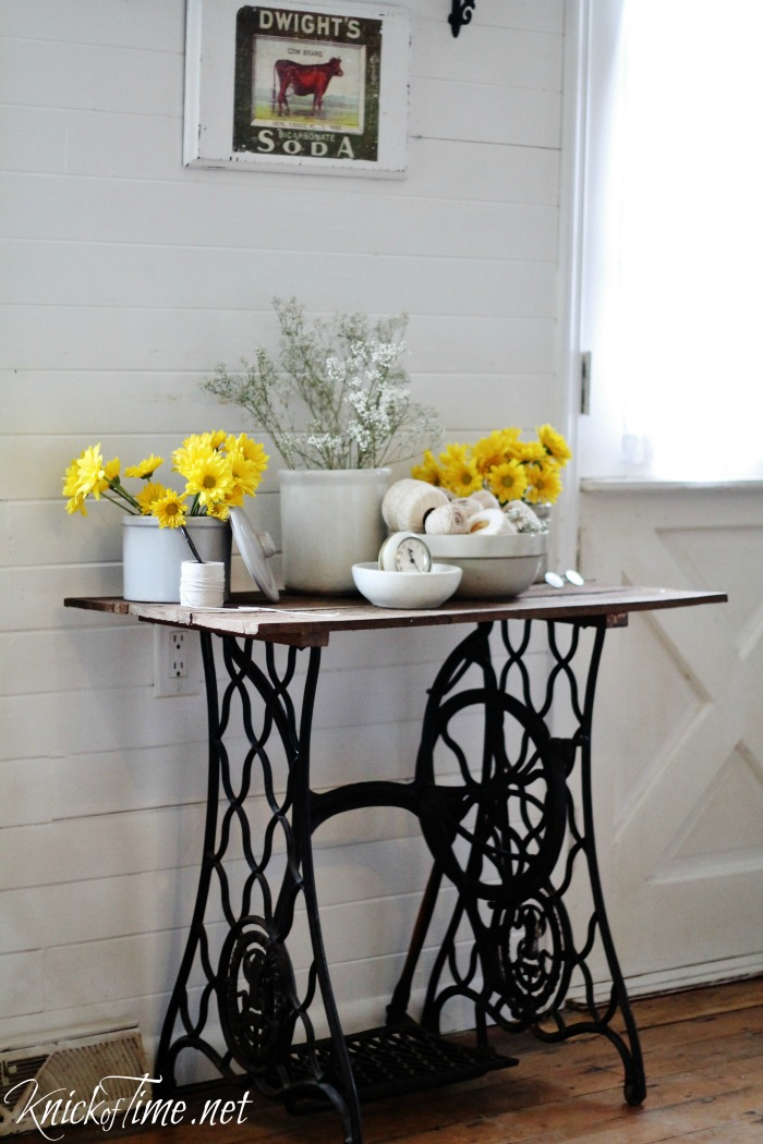 Repurposed antique sewing machine base turned into a rustic farmhouse  accent table - KnickofTime.net - Antique Sewing Machine Table Via KnickofTime.net