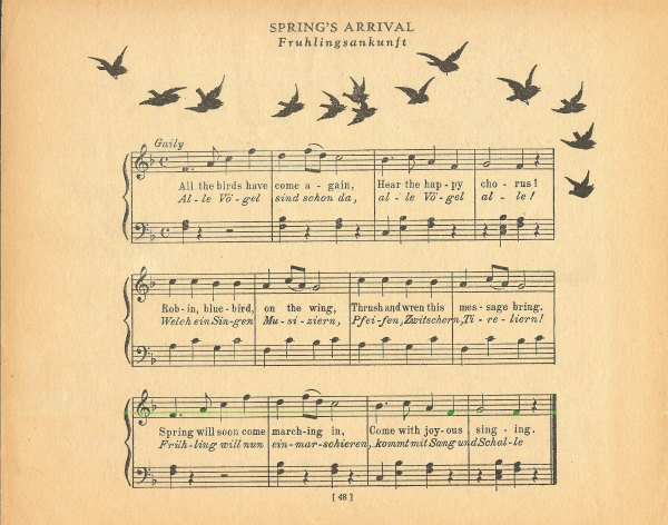 bird silhouette antique sheet music
