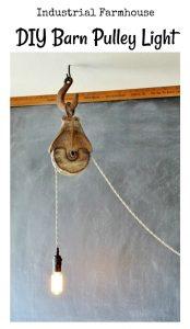 Industrial farmhouse DIY barn pulley light | www.knickoftime.net