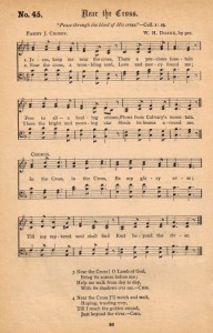 near the cross hymnal page