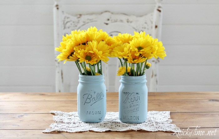 painted glass canning jars with Valspar chalky finish paint product review by Knick of Time - www.knickoftime.net