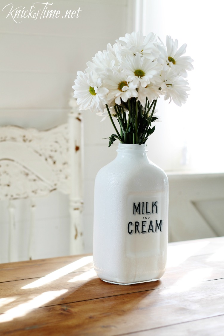 Diy milk bottle flower vase via knickoftime diy painted milk bottle with milk and cream co graphic tutorial at knickoftime reviewsmspy