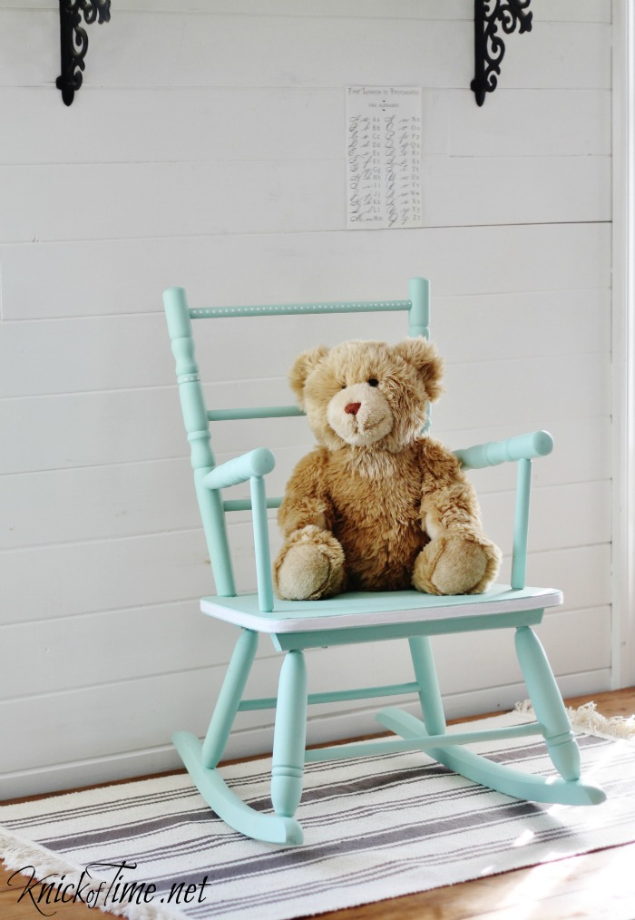 vintage child's rocking chair - Vintage Child's Rocking Chair Makeover Via KnickofTime.net