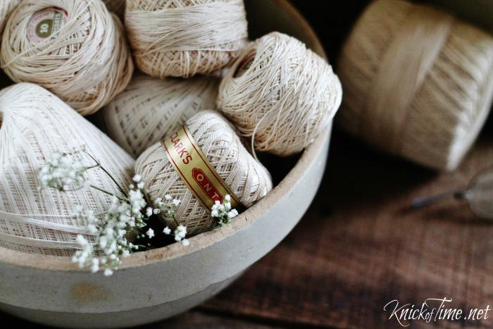 vintage crochet thread spools