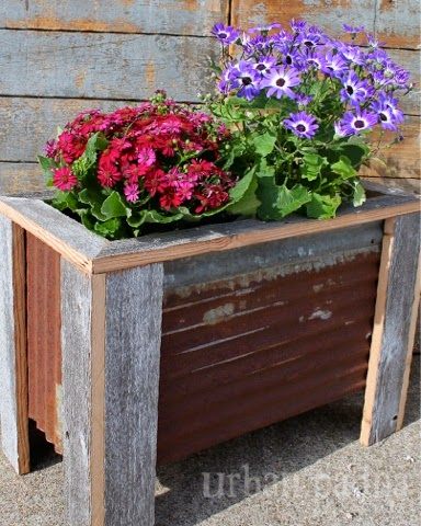 barn wood patio planter