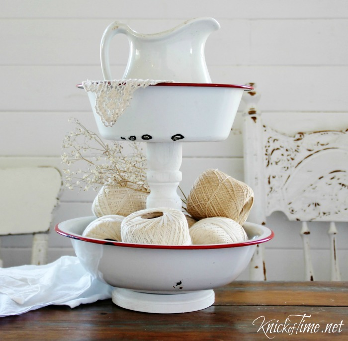 Enamelware Bowls Tiered Stand | Turn Old Junk into Fabulous Farmhouse Decor |via www.knickoftime.net