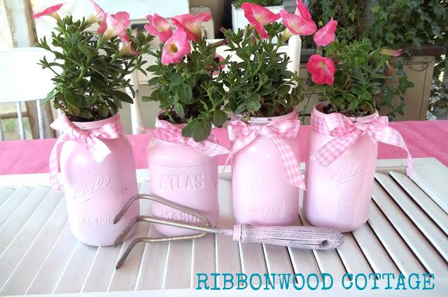 pink mason jars