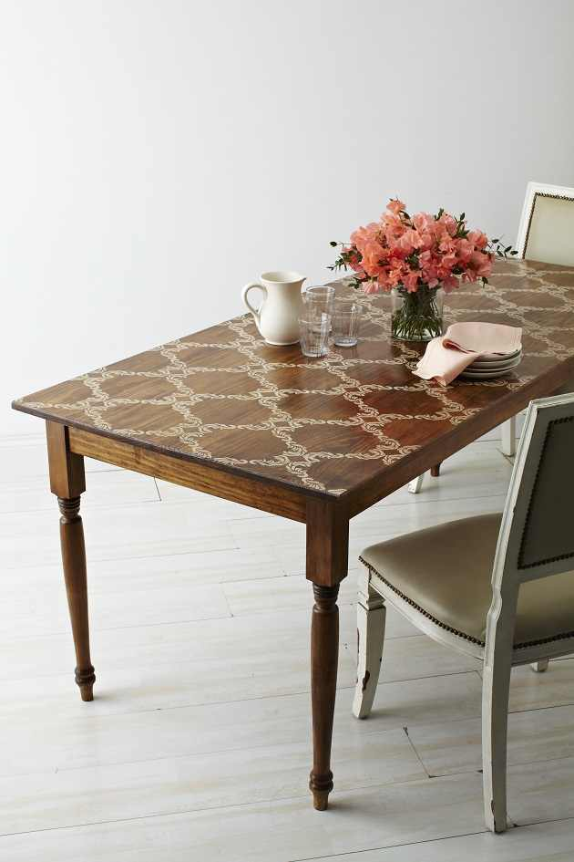 Luxury stenciled farmhouse table in Country Living magazine featured at KnickofTime net