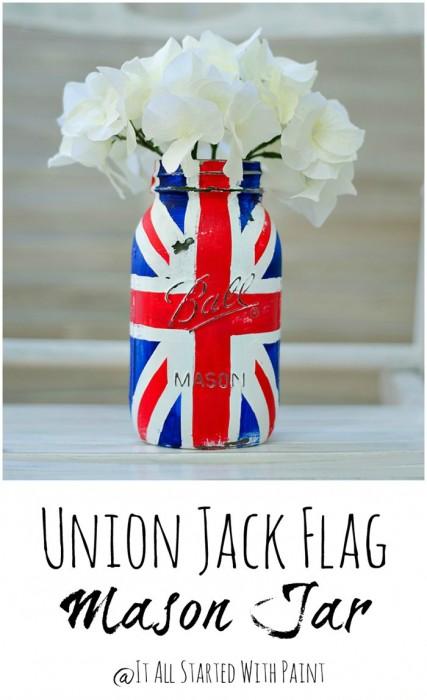 Union Jack mason jar