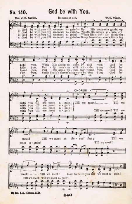 antique hymn page God Be With You
