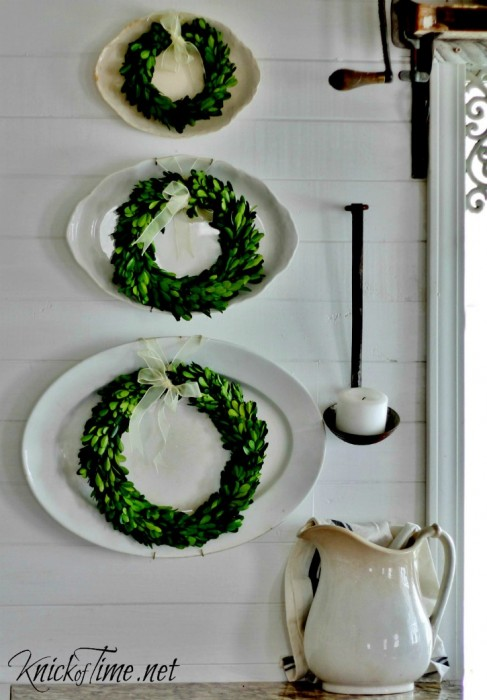 Boxwood Wreaths from Decor Steals in my Farmhouse Kitchen - KnickofTime.net