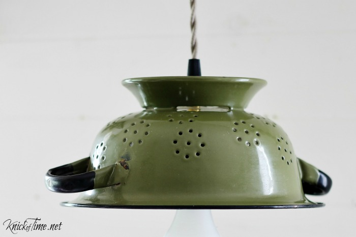 repurposed colander hanging light
