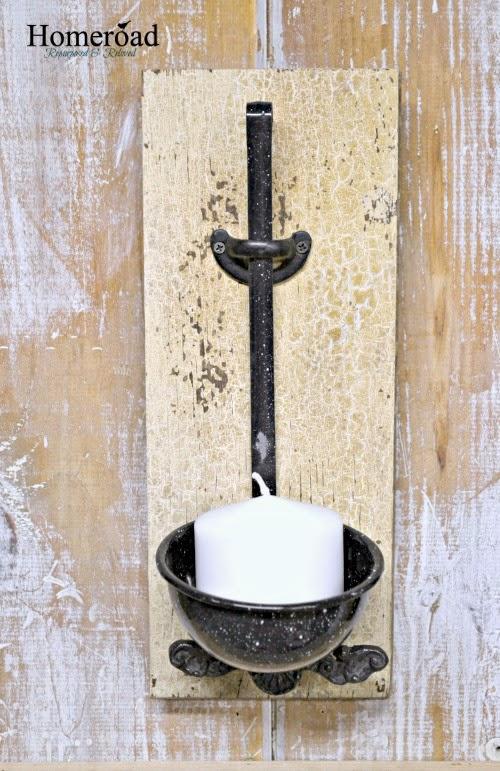 graniteware ladle candle holder